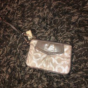 silver coach wristlet wallet key card holder